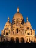 El Sacre Coeur en el crepúsculo Imagen de archivo libre de regalías