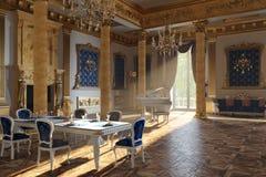 El salón de baile y el restaurante en estilo clásico 3d rinden imagen de archivo