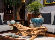El salón de té de familias chinas modernas fotografía de archivo