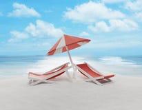 El salón y el paraguas en la arena varan la isla 3d-illustration Fotos de archivo libres de regalías