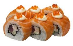 El salmón del sushi rueda los mariscos del menú de la comida Imagen de archivo