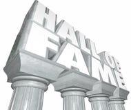 El salón de la fama redacta la celebridad famosa Ind legendario de las columnas de mármol Imagen de archivo