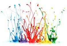 El salpicar colorido de la pintura Fotos de archivo