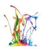 El salpicar colorido de la pintura Fotografía de archivo