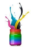 El salpicar colorido de la tinta Imagen de archivo