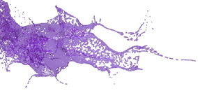 El salpicar derramando el líquido púrpura en la cámara lenta ilustración del vector