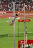 El saltador de poste ruso rompe el récord mundial Foto de archivo