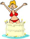 El saltar de la muchacha de una torta Imagen de archivo libre de regalías