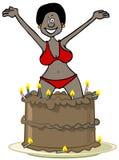 El saltar de la mujer negra de una torta Fotos de archivo