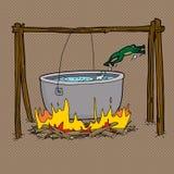 El saltar de la rana del pote de la hoguera stock de ilustración