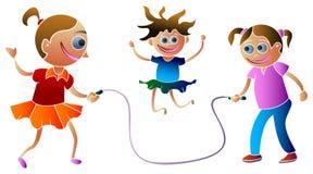 El saltar de las muchachas stock de ilustración