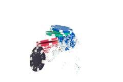 El saltar de las virutas de póker del agua Imagen de archivo libre de regalías