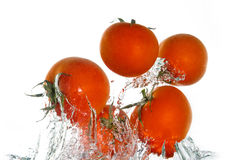 El saltar de los tomates del agua Fotos de archivo