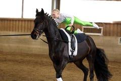 El saltar en un caballo negro Foto de archivo