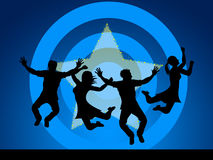 El salto de la diversión indica alegre feliz y protagonizado Imágenes de archivo libres de regalías