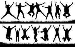 El salto de la gente, los amigos hombre y el sistema de la mujer Vector alegre de la colección de la silueta de la muchacha y del stock de ilustración