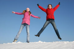 El salto de las muchachas Foto de archivo libre de regalías