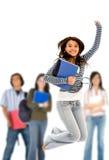El salto del estudiante universitario Foto de archivo libre de regalías