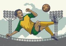 El salto del jugador de fútbol del dibujo de la mano golpea adentro estilo con el pie retro libre illustration