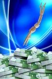 El salto euro del maniquí embala billetes de banco del taco 100 Fotos de archivo libres de regalías