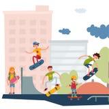 El salto urbano que anda en monopatín de gente del skater del parque del active al aire libre extremo activo del deporte engaña e Fotos de archivo