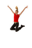 El salto y sea feliz Imágenes de archivo libres de regalías