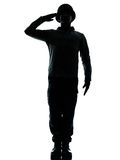 El saludar del hombre del soldado del ejército Imagen de archivo