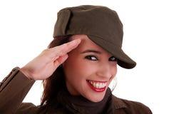 El saludar feliz del soldado del ejército de la mujer Fotos de archivo libres de regalías