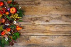 El saludo de la acción de gracias con la calabaza, las manzanas y el verde se va encendido Fotografía de archivo libre de regalías