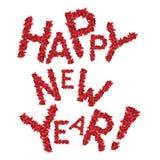El saludo de la Feliz Año Nuevo de la Navidad roja florece Foto de archivo libre de regalías