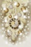 El saludo de la Feliz Navidad y del Año Nuevo wallpaper con el reloj de Navidad Imagen de archivo libre de regalías