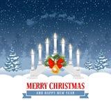 El saludo de la Navidad con la vela enciende el puente stock de ilustración
