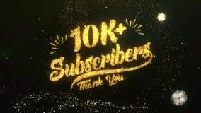 el saludo del texto de los suscriptores 10K+ desea el fuego artificial del cielo nocturno de las partículas de las bengalas metrajes