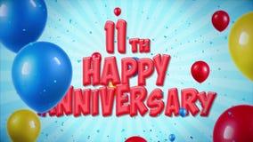 el saludo rojo y los deseos del 11mo aniversario feliz con los globos, confeti colocaron el movimiento ilustración del vector