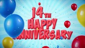 el saludo rojo y los deseos del 14to aniversario feliz con los globos, confeti colocaron el movimiento stock de ilustración
