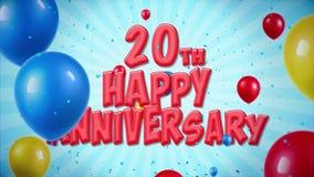 el saludo rojo y los deseos del vigésimo aniversario feliz con los globos, confeti colocaron el movimiento ilustración del vector