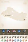 El Salvador. Republic of El Salvador and North America Maps plus cartography symbols set (part of the World Maps Set Royalty Free Stock Photo