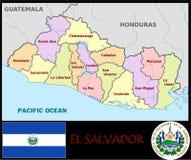 El Salvador Administrative divisions. El Salvador map flag and coat Royalty Free Stock Photos