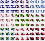 El Salvador, Ameroacan Samoa, a Antártica, Chipre do norte turco, Zâmbia, Gales, Tanzânia, Gibraltar, Papuásia-Nova Guiné Grupo g ilustração do vetor
