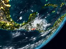 El Salvador auf Erde nachts lizenzfreies stockfoto