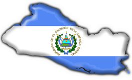 El salvador button flag map shape Royalty Free Stock Photography