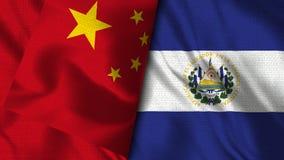 El Salvador and China Flag -- 3D illustration Flags royalty free illustration
