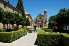 El Salvador Church, Ubeda, Spain. The Sacred Chapel of El Salvador (Capilla del Salvador) and the Plaza de Vazquez de Molina with fountain in foreground, Ubeda Royalty Free Stock Images