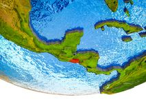 El Salvador on 3D Earth. With divided countries and watery oceans. 3D illustration royalty free stock images