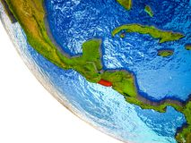 El Salvador on 3D Earth. El Salvador on model of Earth with country borders and blue oceans with waves. 3D illustration stock illustration