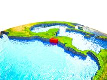 El Salvador on 3D Earth. With visible countries and blue oceans with waves. 3D illustration royalty free illustration