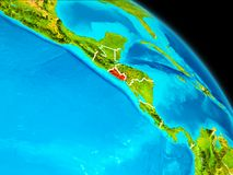 El Salvador on Earth. Space orbit view of El Salvador highlighted in red on planet Earth with visible borders. 3D illustration. Elements of this image furnished stock illustration