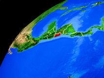 El Salvador on Earth from space. El Salvador from space. Planet Earth with country borders and extremely high detail of planet surface. 3D illustration. Elements stock photo