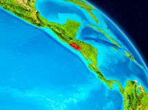 El Salvador on Earth. Space view of El Salvador highlighted in red on planet Earth. 3D illustration. Elements of this image furnished by NASA royalty free illustration