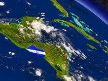 El Salvador with embedded flag on Earth Stock Photo